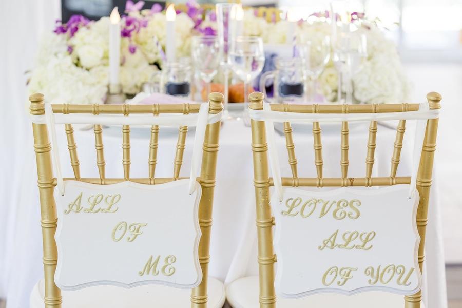 wedding chair signs- john legend- New Jersey Real Wedding