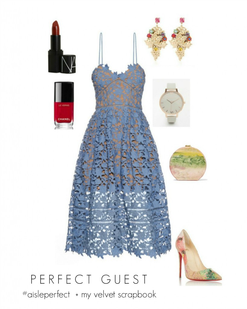 Powder blue lace wedding guest outfit