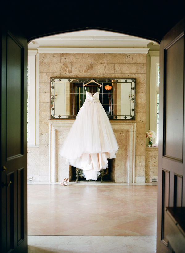 blush lazaro wedding gown