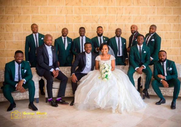 green groomsmen