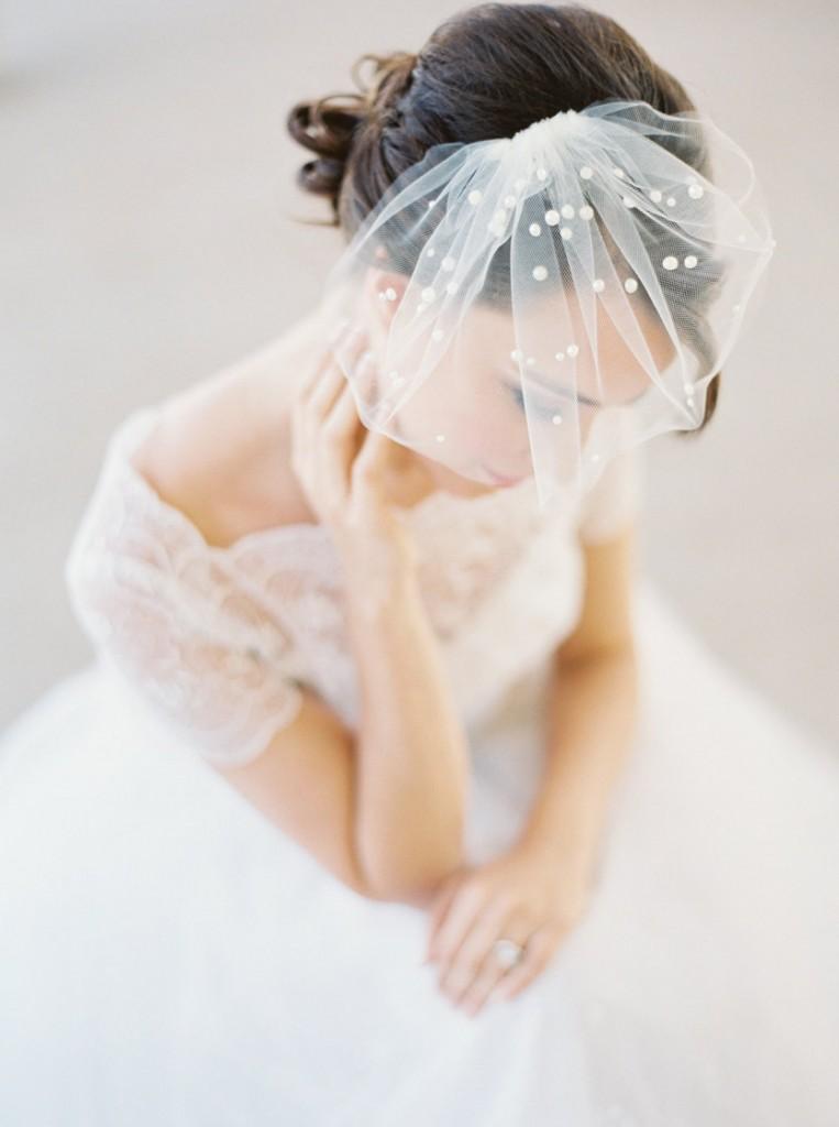 polka dotted birdcage veil