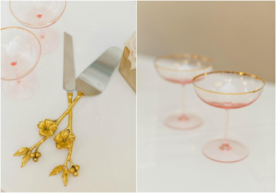 vintage rose gold wedding details