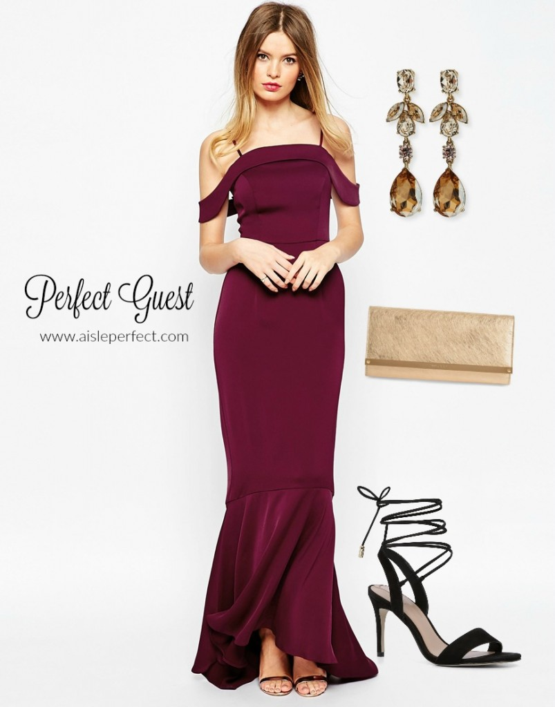 Oxblood Maroon Wedding Guest Outfit
