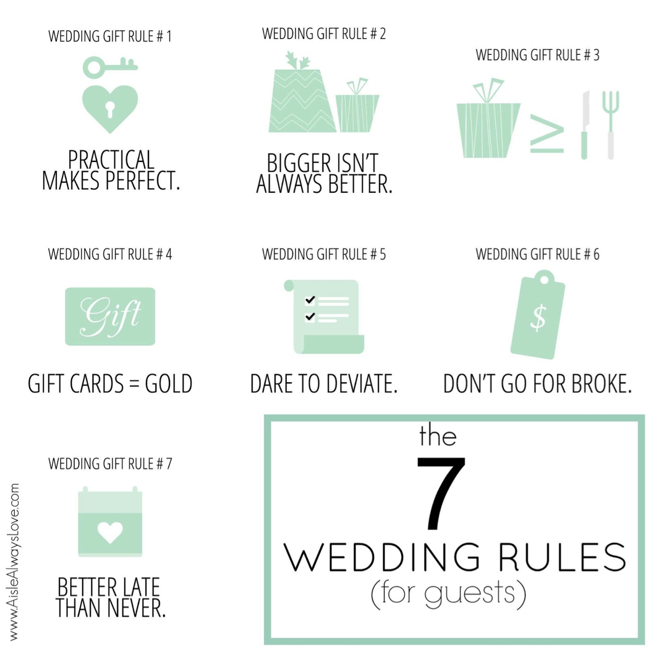 7 Wedding Gift Rules For Guests By Aisle Always Love Perfete