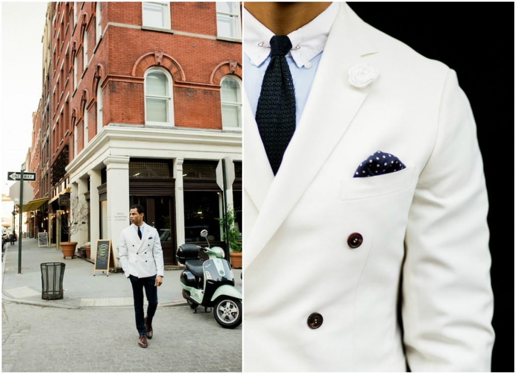 Blue and White Groom Styling_ White Suit