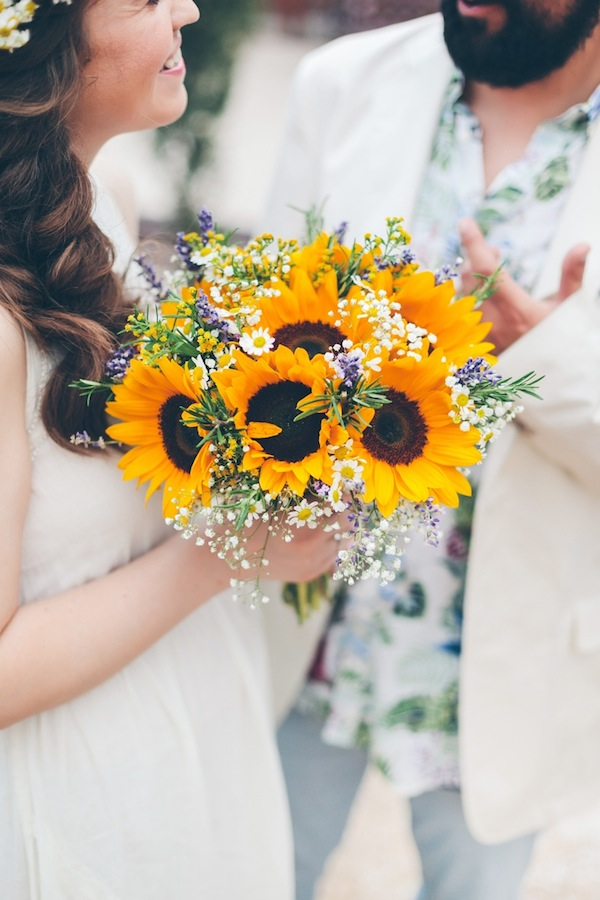 sunflower bouquet- greece wedding