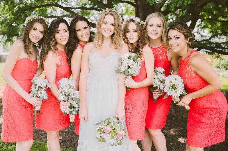 Coral Lace Bridesmaids Dresses -short