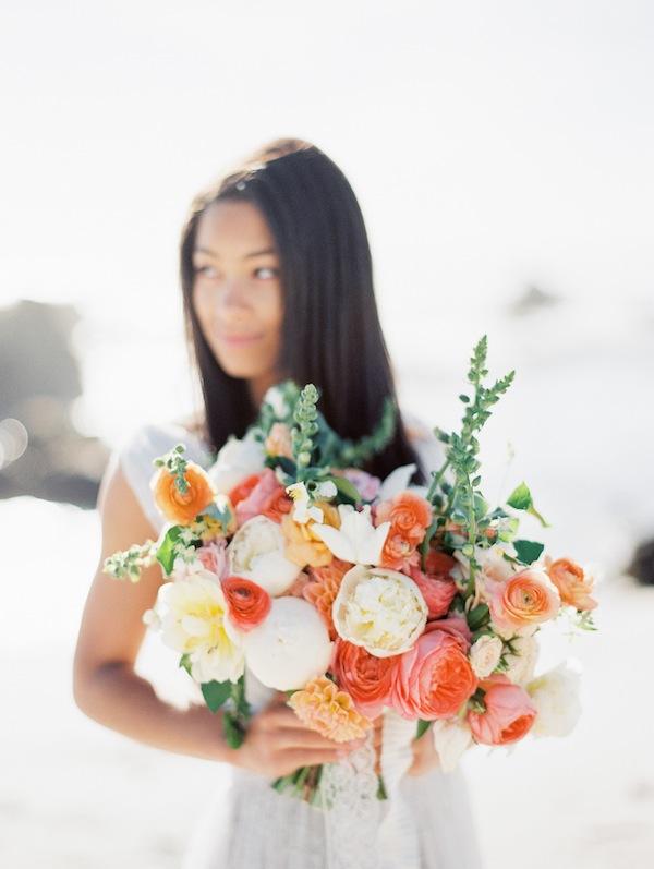 coral peach blush bouquet