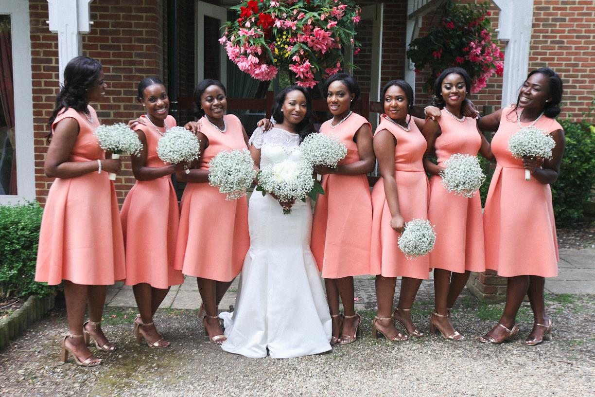peach coral bridesmaids dresses