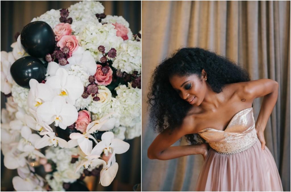 Black White and Marsala Flowers
