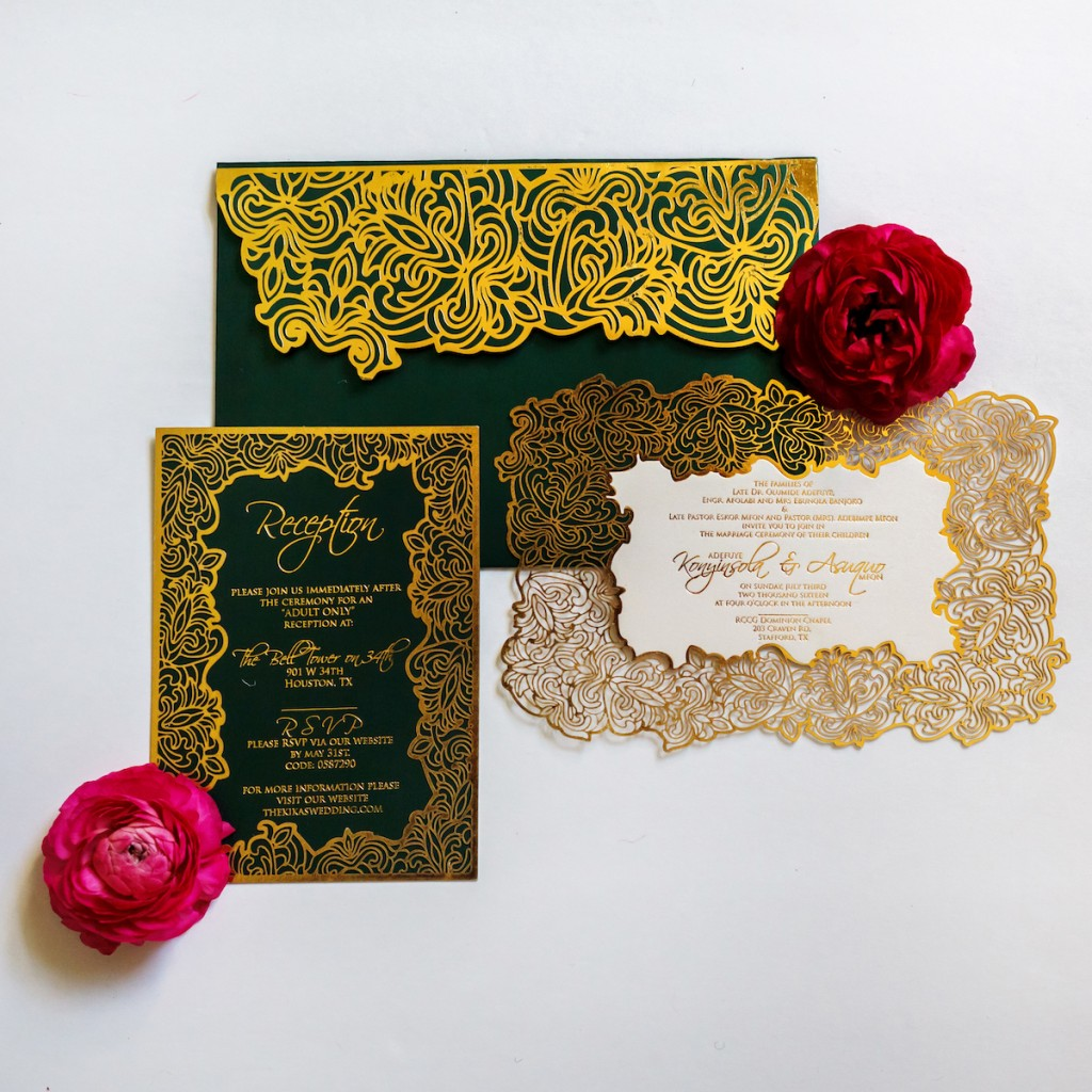 Green and Gold Laser Cut Invitation Suite-1