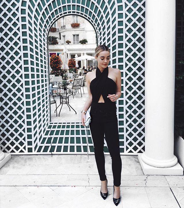 black wedding guest outfit jumpsuit