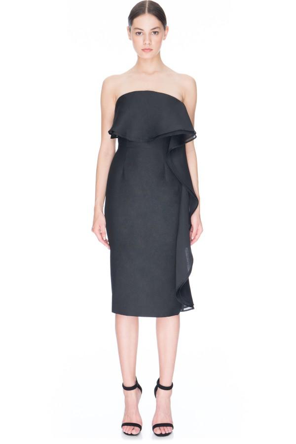 Black strapless wedding guest dress