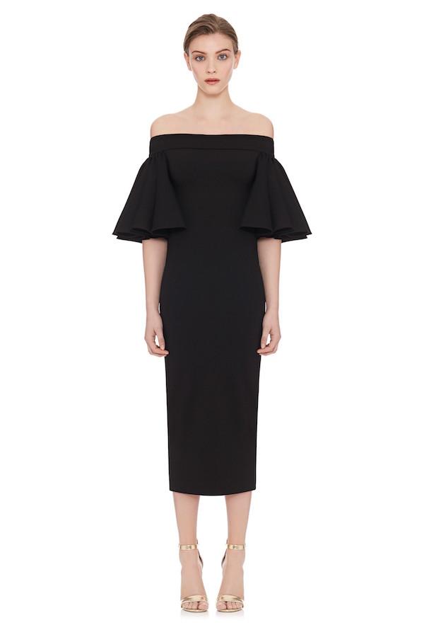 black off shoulder midi dress