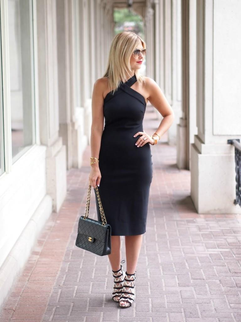 halter neck black body con dress