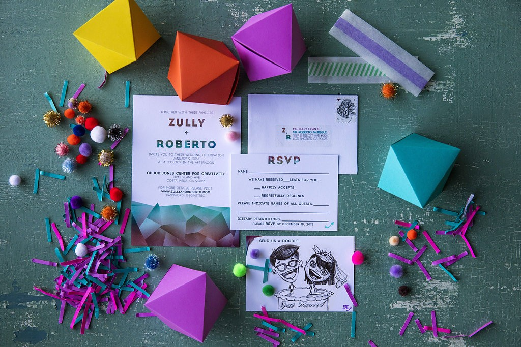 geometric colorful wedding invitations
