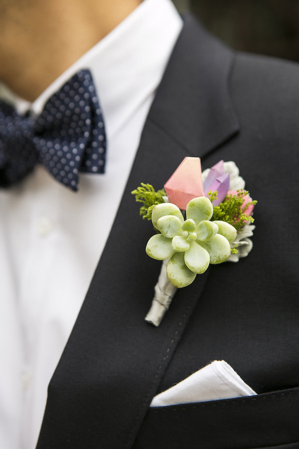 geometric colorful boutonniere
