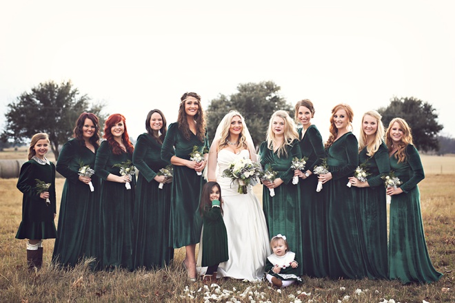long-sleeved-velvet-green-bridesmaids