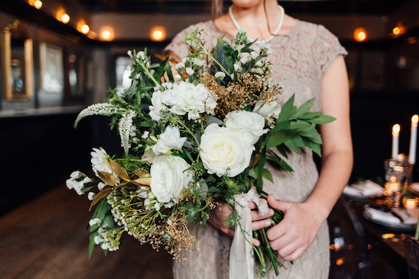 wild garden bouquet with gold touches