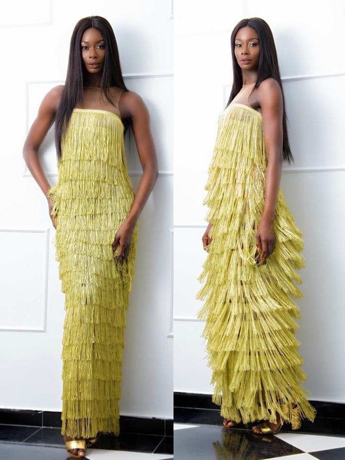 Yellow fringe holiday dress