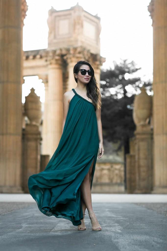 one-shoulder-green-dress