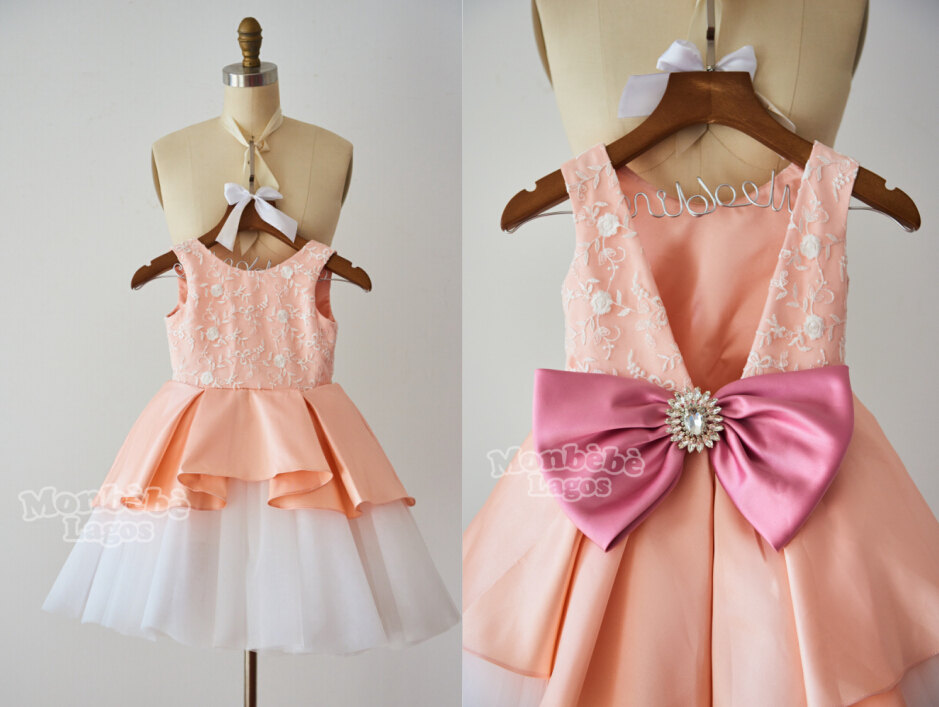 Peach Flower Girl Dress with Low Back and Bow $100