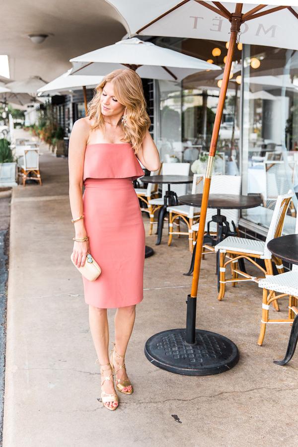 peach-strapless-dress