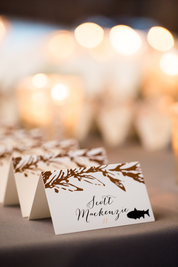 fall escort cards with meal selection