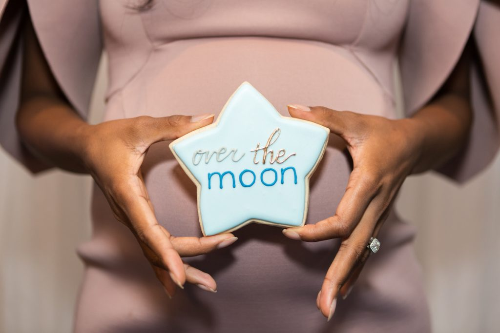 over the moon baby shower cookies