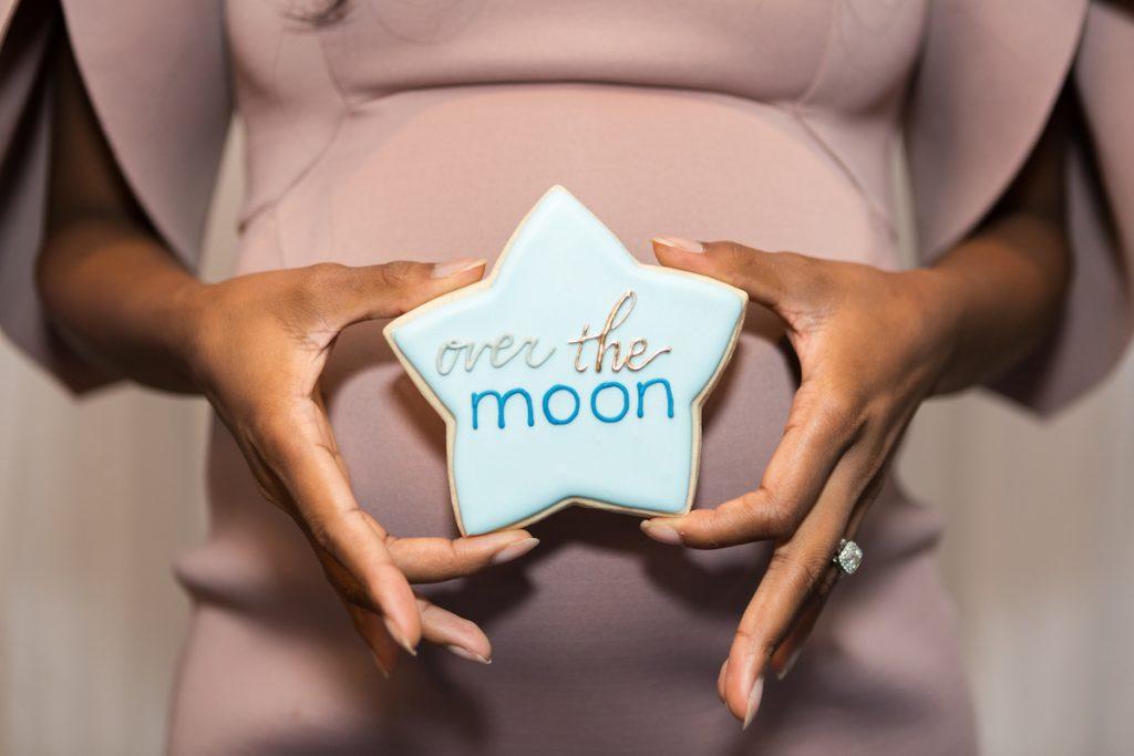 over the moon baby shower cookies