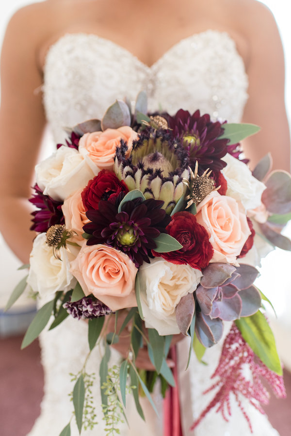 cranberry, blush and green bouquet
