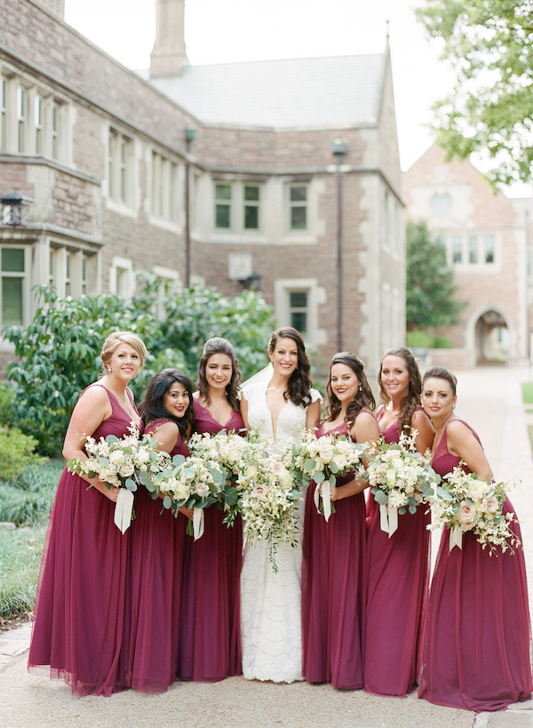Wine bridesmaids dresses