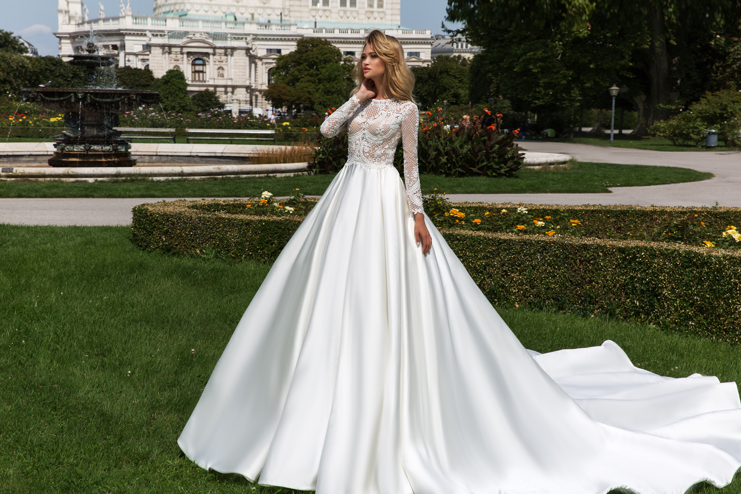 long sleeve ballgown by Crystal Design Couture