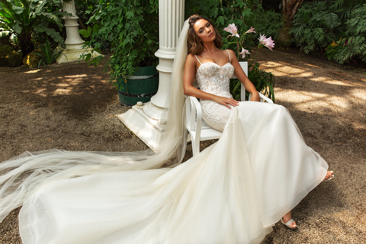 spaghetti strap wedding gown by Crystal Design Couture