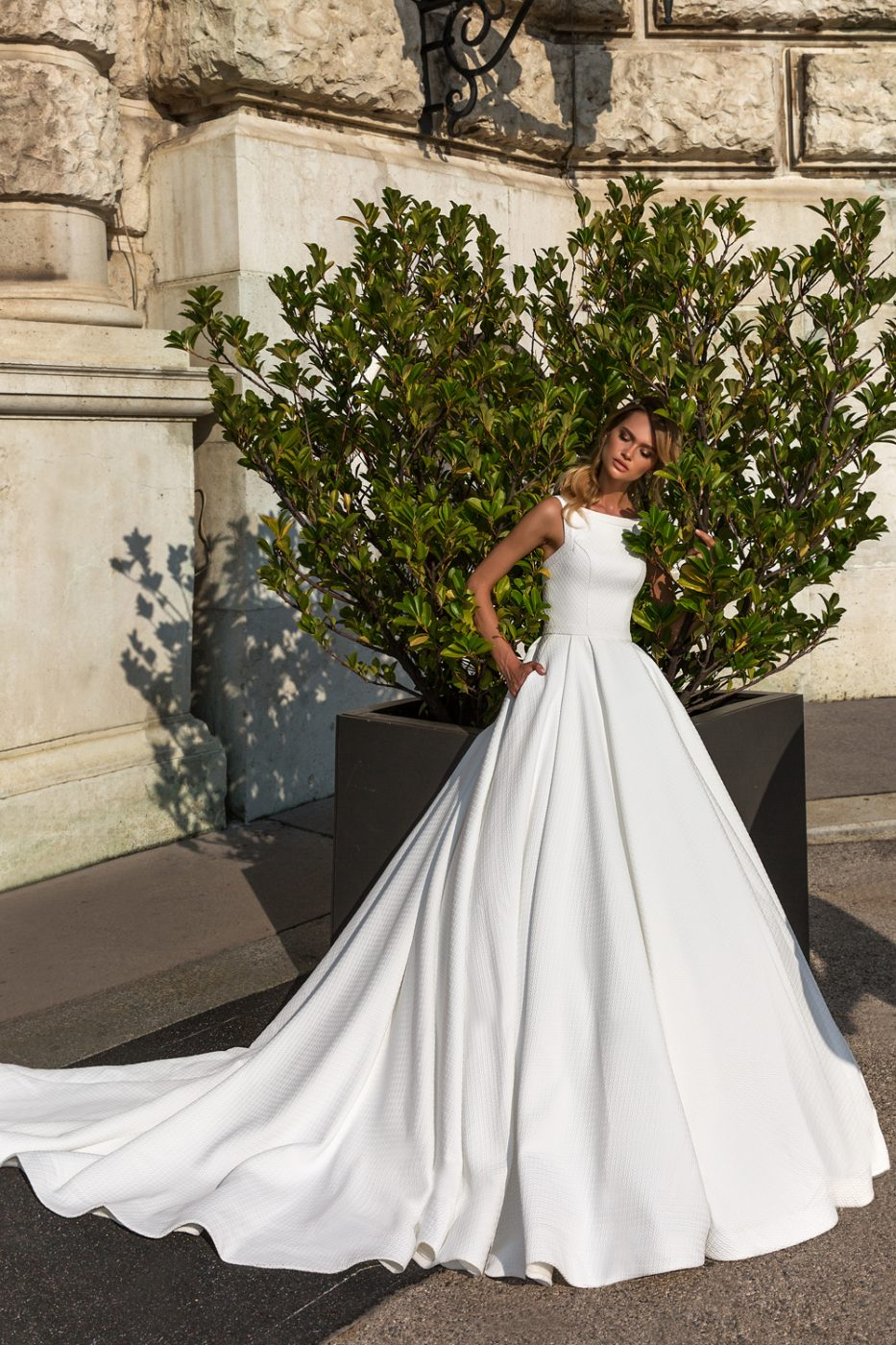 sleeveless modest wedding gown by Crystal Design Couture