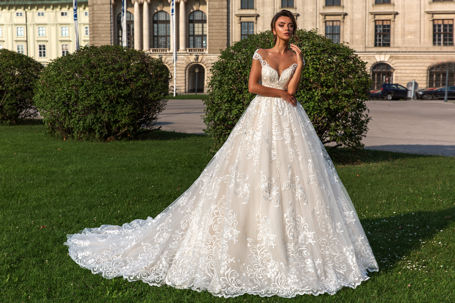off shoulder lace ballgown by Crystal Design Couture