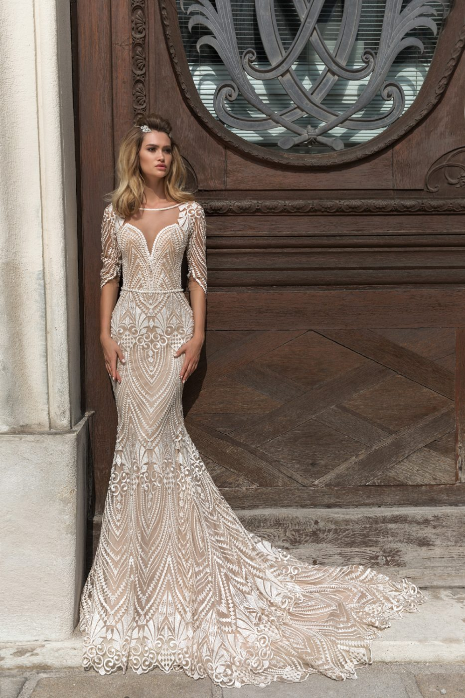 fitted wedding dress by Crystal Design Couture