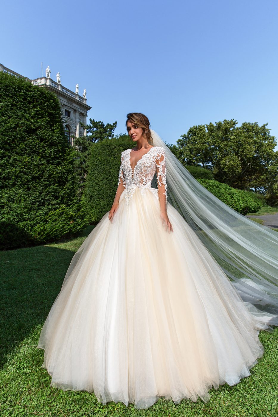 illusion sleeve v neck ball gown by Crystal Design Couture