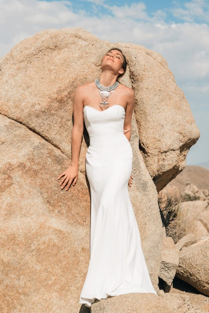 strapless wedding dress with metal choker by willowby
