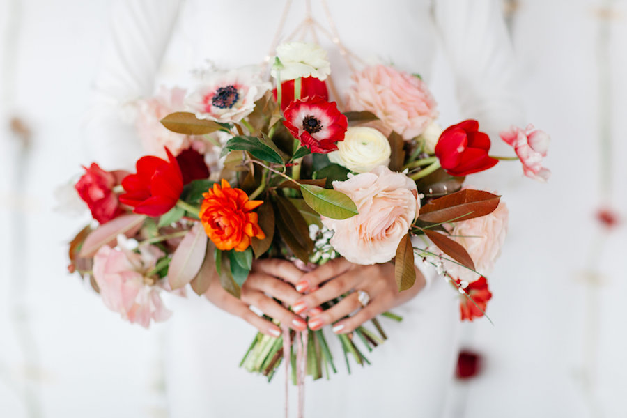 modern pink red peach bouquet