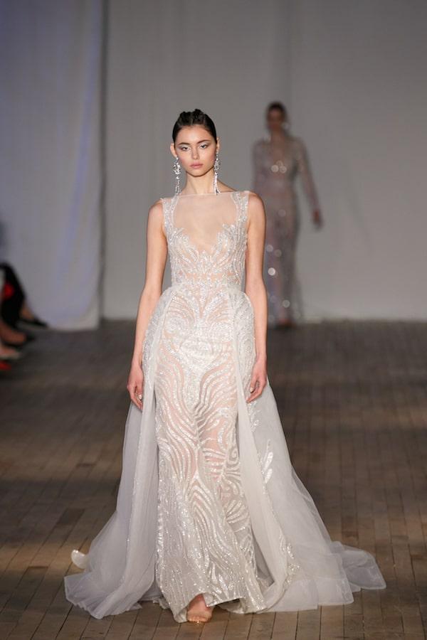 Illusion wedding dress with overskirt detachable train