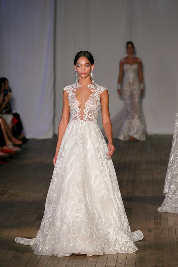 Illusion plunge neck a-line wedding dress- berta bridal