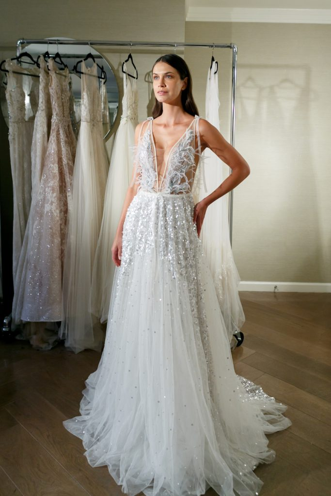 Sequin Glitter and Feather Plunge Neck Wedding Gown