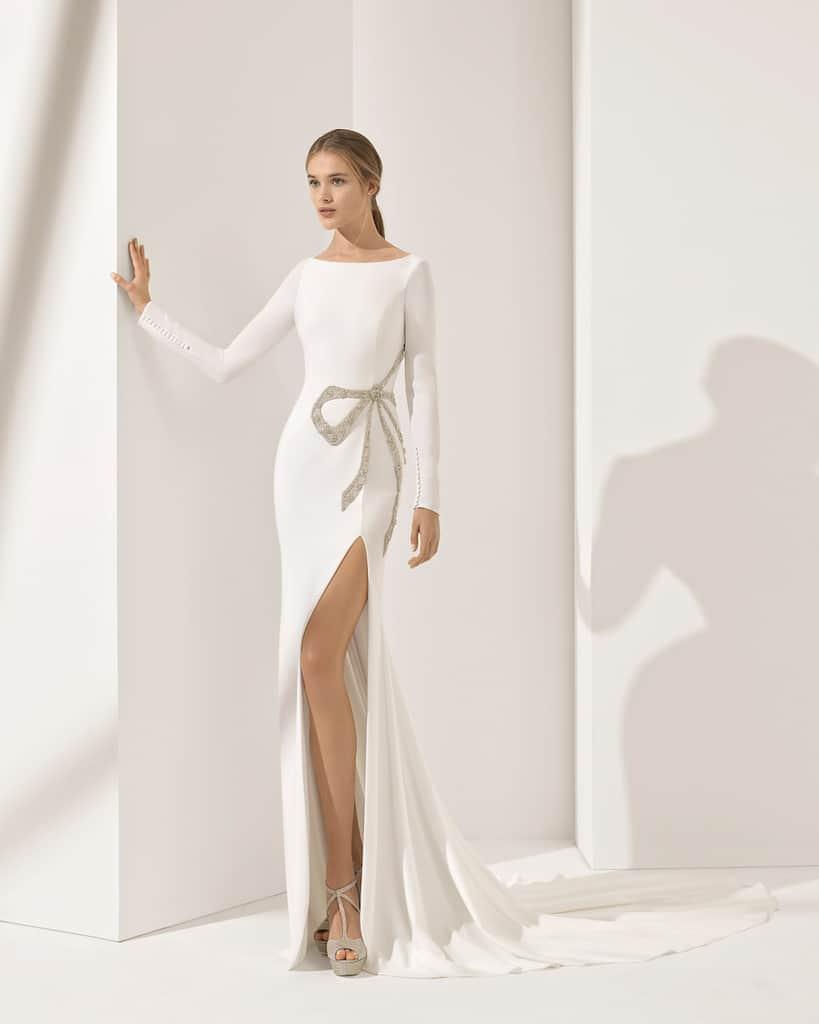 Slittled Long Sleeve Wedding Dress