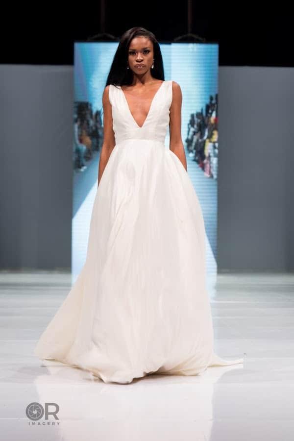 plunge neck a line wedding dress by elizabeth and lace bridal