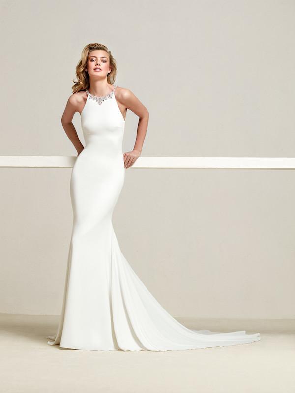 Embellished neckline halter wedding gown