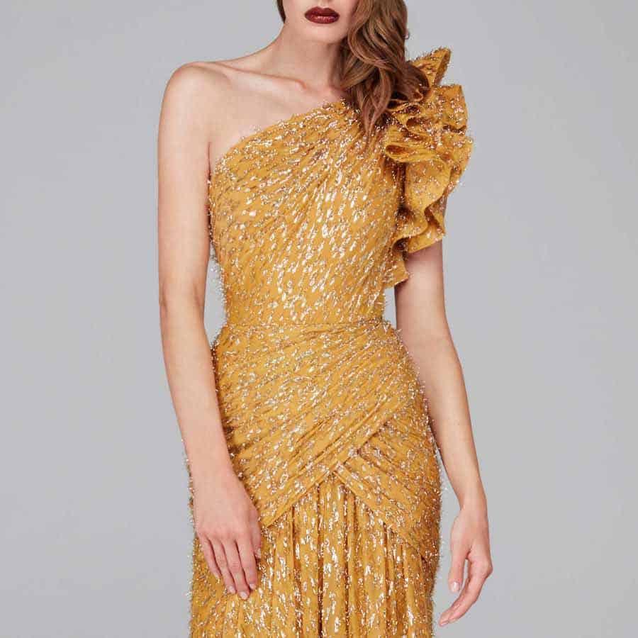 Yellow One-Shoulder Reception Dress