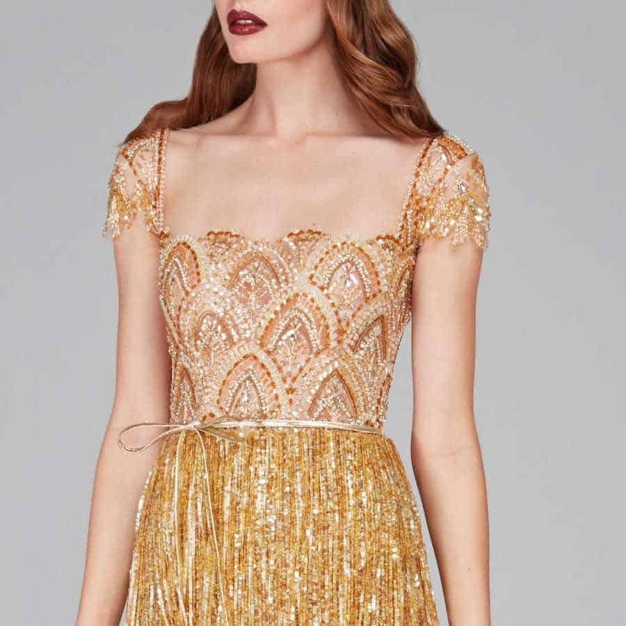 Gold Fringe Dress Hamda Al Fahim