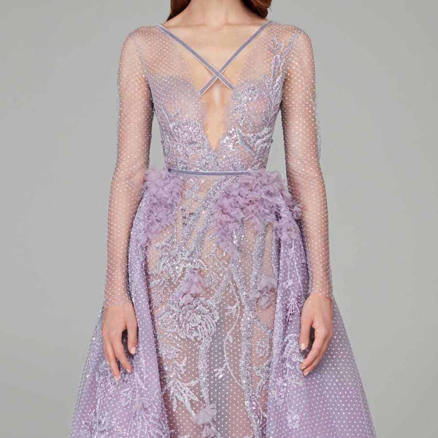 Lilac Wedding Dress with Overskirt Train