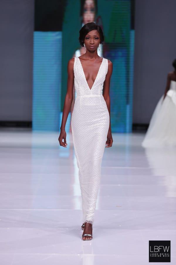 Plunge Neck Reception Dress _ Imad Eduso